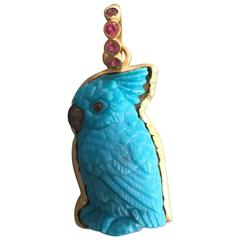 Hand-Carved Turquoise Gold Parrot