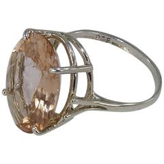 Oval Peach Morganite in Sterling Silver Ring