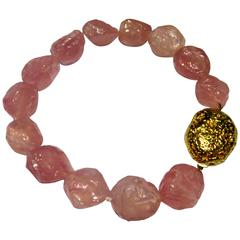 Sergio Elefante Rose Quartz Bead Gold Nugget Necklace