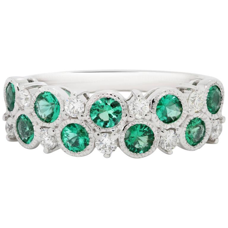 Emerald Diamond Gold Band Ring
