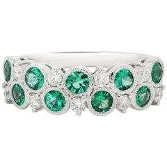 Emerald Round White Diamond Round White Gold Band Fashion Cocktail Ring