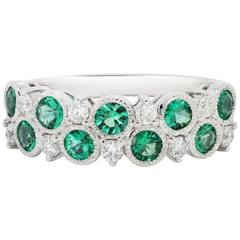 Emerald Diamond Gold Band Ring