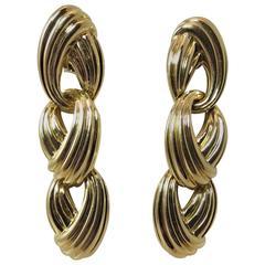 Charles Turi Yellow Gold Triple Hoop Drop Earrings