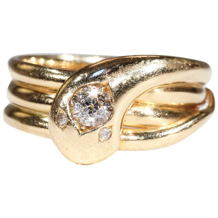 Victorian Single Diamond Head Snake Ring