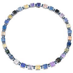 Multi-Color Sapphire Necklace by Oscar Heyman, 115.72 Carat