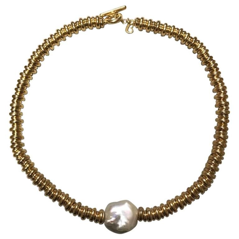 Yellow Silver and Pearl Necklace