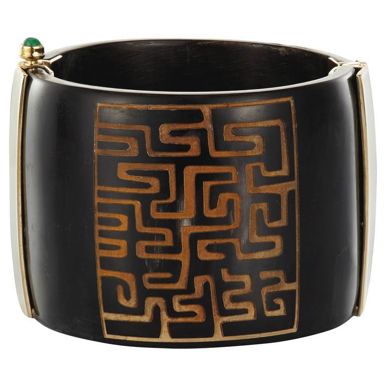 Fouche Cuff Bracelet Bespoke Horn Emerald