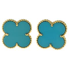 Van Cleef & Arpels Large Magic Alhambra Turquoise Yellow Gold Earrings
