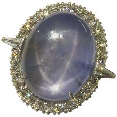 40.35 Carat Oval Star Sapphire Platinum Ring