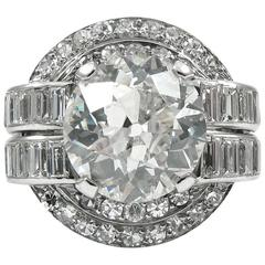 Art Deco 3.19 Carat GIA Old European Cut Diamond Platinum Ring