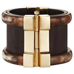 Fouche Bespoke Horn Wood Emerald Ruby Fire Opal Cuff Bracelet