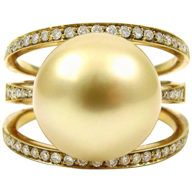 Kurt Wayne Golden South Sea Pearl Diamond yellow gold Ring