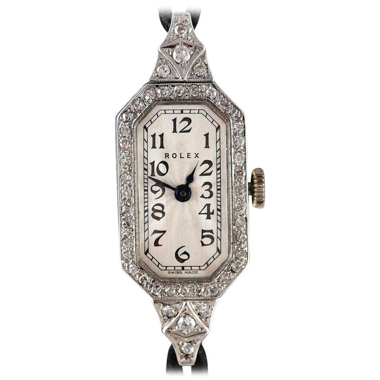 Rolex Ladies White Gold Diamond Wristwatch, 1924 For Sale