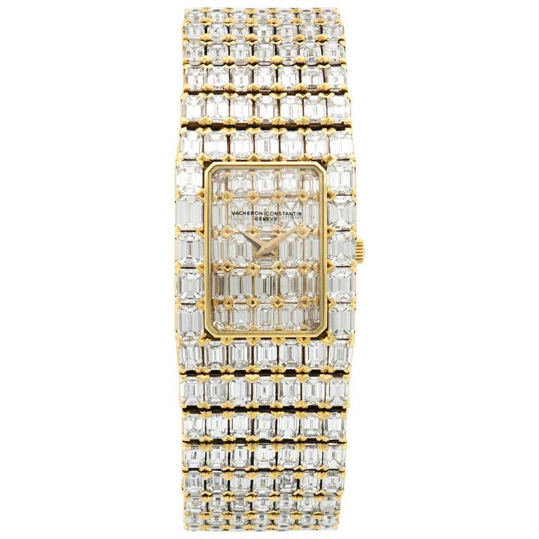 Vacheron Constantin Yellow Gold Emerald-Cut Diamond Bracelet Wristwatch