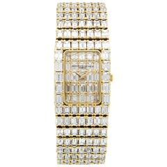 Vacheron Constantin Yellow Gold Emerald-Cut Diamond Bracelet Wristwatch