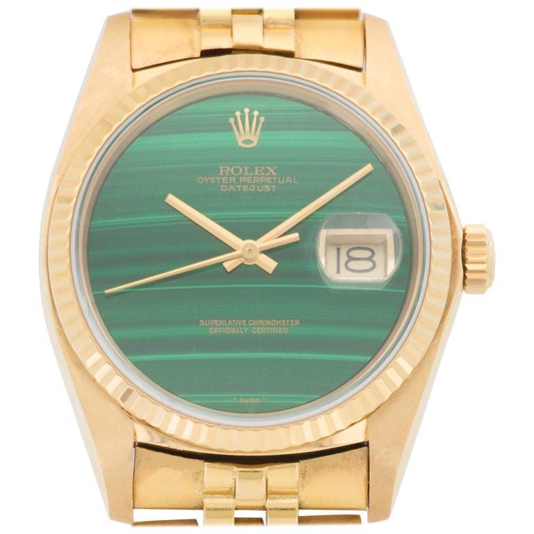 Rolex Yellow Gold Datejust Malachite Dial Automatic ...