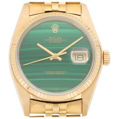Rolex Yellow Gold Datejust Malachite Dial Automatic Wristwatch Model 16018