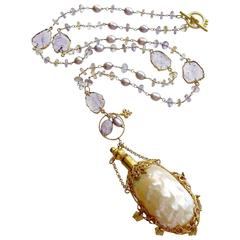 Ametrine Amethyst Slices Chatelaine Shell Scent Bottle Necklace