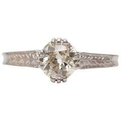 1930s GIA Certified 0.67 Carat Solitaire Diamond Platinum Engagement Ring