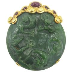 David Webb Jade Ruby Gold Brooch