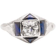 Belais Brothers Art Deco Sapphire Diamond White Gold Engagement Ring