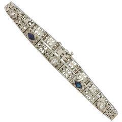 Elegant Sapphire Diamond White Gold Filigree Bracelet