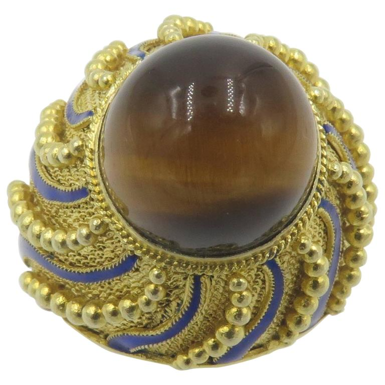Tiger's Eye Blue Enamel Gold Ring