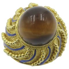 Tiger's Eye Blue Enamel Gold Ring