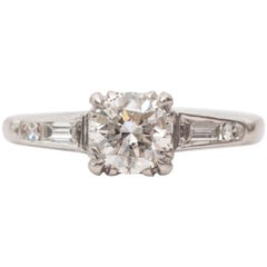 1940s GIA Certified 0.82 Carat Platinum Diamond Engagement Ring