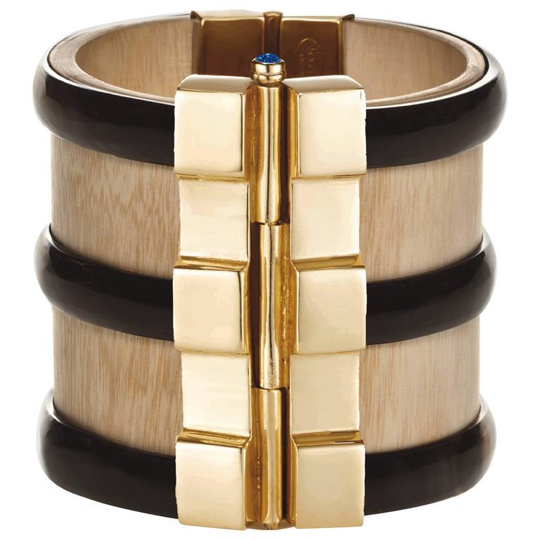 Fouche Cuff Bracelet Bespoke Gold Horn Sapphire Emerald Ruby Wood