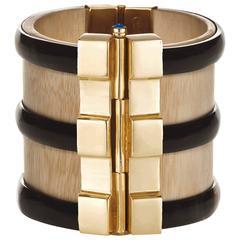 Fouche Bespoke Horn Sapphire Emerald Ruby Wood Gold Cuff Bracelet