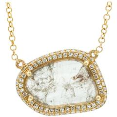 Contemporary Yellow Gold Pave Diamond Slice Pendant Chain Necklace