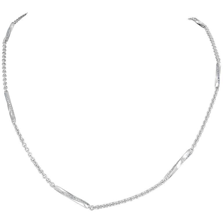 1.05 Carat Round Brilliant Cut Diamond White Gold Spiral Link Necklace