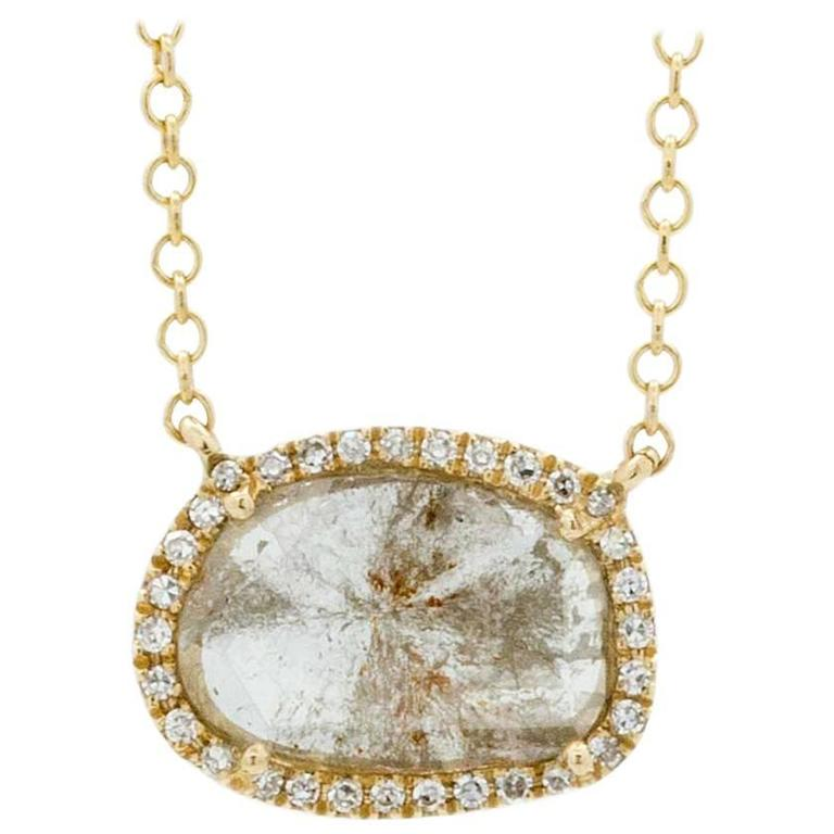 Contemporary Yellow Gold Diamond Slice Pendant Chain Necklace For Sale
