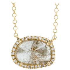 Contemporary Yellow Gold Diamond Slice Pendant Chain Necklace