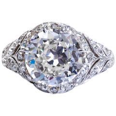 3.10 Carat Old European Diamond White Gold Engagement Ring