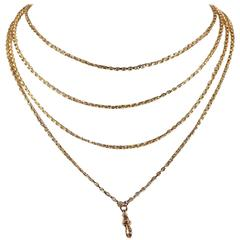 Victorian Long Guard Gold Chain Necklace
