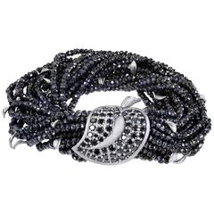 Black Spinel Textured Dark Silver Leaf Bracelet Limited Edition Handmade in NYC