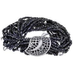 Alex Soldier Black Spinel Textured Dark Silver Leaf Bracelet Limited Edition