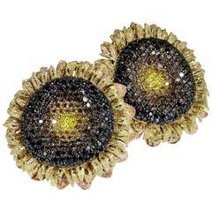 Alex Soldier Diamond Gold Textured Sunflower Earrings