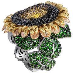 Alex Soldier Color Diamond Tsavorite Garnet Gold Sunflower Ring, Limited Edition