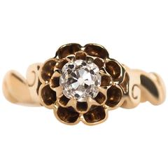 1890s Victorian GIA Certified .49 Carat Diamond Yellow Gold Engagement Ring