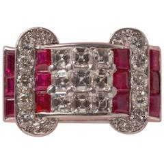 Lacloche Frères Ruby Diamond Platinum and Ring