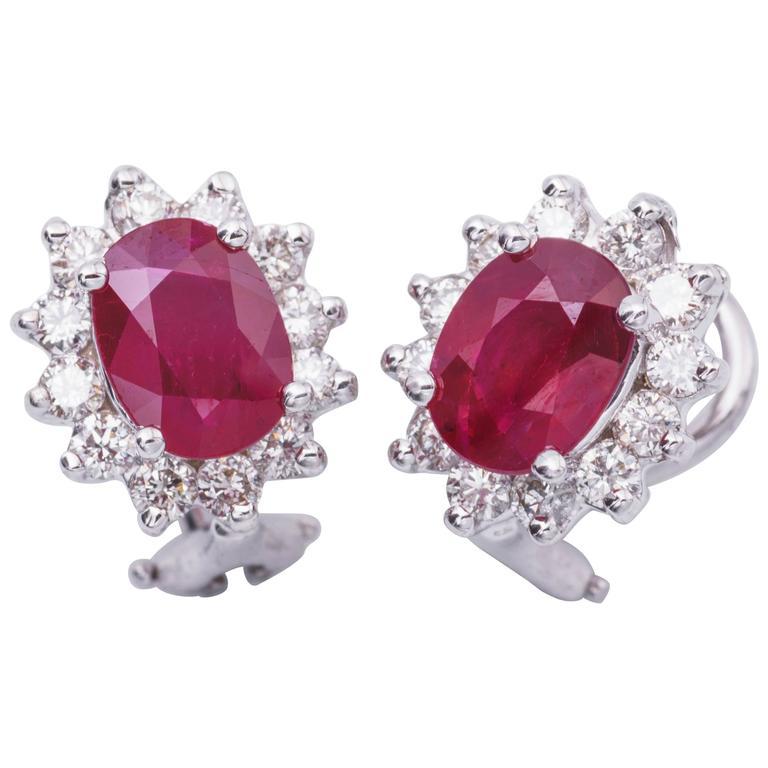 3.20 Carat Oval Rubies Diamond Gold Earrings