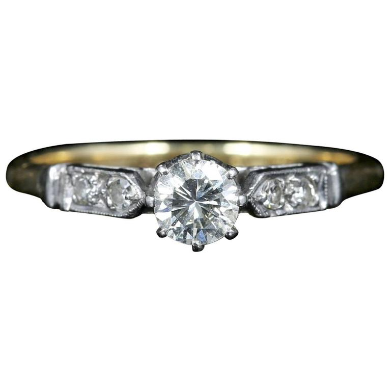 Antique Edwardian Diamond Solitaire Engagement Ring, circa 1915 For Sale