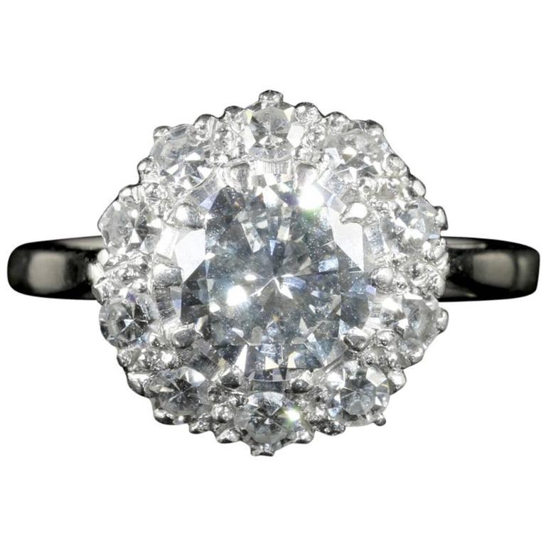 Antique Edwardian 1.60 Carat Diamond Platinum Cluster Engagement Ring