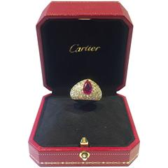 Cartier Burmese Ruby Diamond Yellow Gold Ring