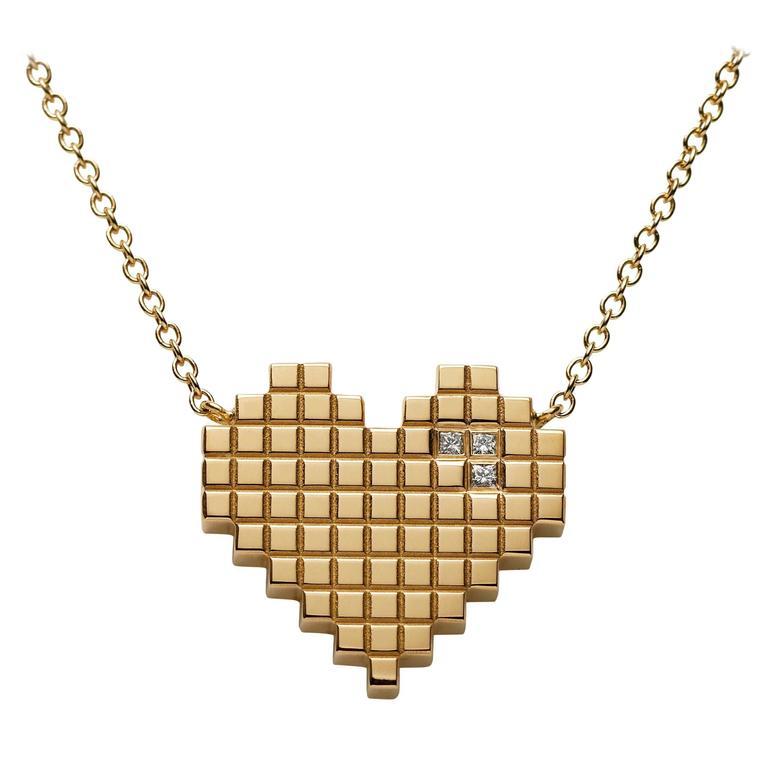 Francesca Grima Diamond Yellow Gold Pixel Heart Necklace 1