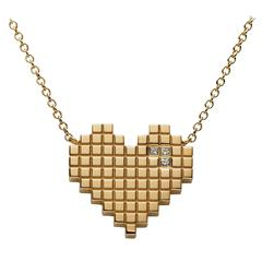 Francesca Grima Diamond Yellow Gold Pixel Heart Necklace