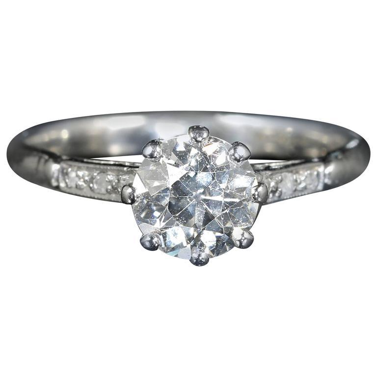 Antique Edwardian 1.30 Carat Diamond Platinum Engagement Ring